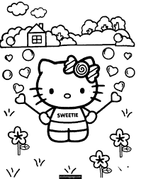 Hello Kitty Flower On Farm Coloring