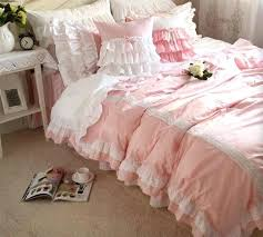 double duvet cover for teenage girl pink ruffle princess single double bed set teen full king