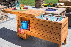 diy outdoor table with cooler. Build An Outdoor Serving Center With A Built-in Cooler And Slide-away Diy Table