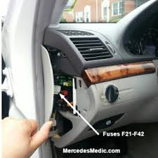 fuses relays e class w fuses inside on the side of the dash
