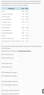 Ratios In Balance Sheet Solved Compute And Interpret Liquidity Solvency And Cove