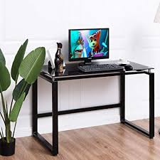 Desk glass top Furniture Tangkula Computer Desk Glass Top Writing Study Table Modern Home Office Workstation With Spacious Amazoncom Amazoncom Tangkula Computer Desk Glass Top Writing Study Table