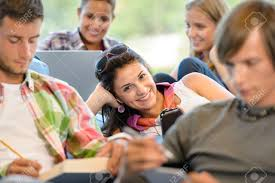 Teens Collage High School Pupils In Study Room Music Books Smiling Teens College