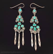 navajo handmade sterling silver turquoise chandelier earrings by joe piaso jr
