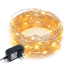 Warm White Led String Lights White Wire Rtgs 100 Warm White Color Led String Lights Plug In On 32 Feet Silver Color Wire For Indoor And Outdoor Use