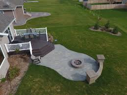 Raised Deck to Patio with Fire Pit and Seat Wall in West Fargo ND