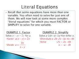 recall that some equations have more than one variable