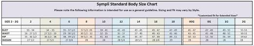 Standard Body Size Clothing Chart Sympli Packable Clothing
