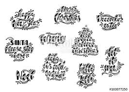 Merry Christmas And Happy New Year Typography Design Hand Drawn