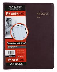 At A Glance Weekly Planner 2015 8 25 X 10 88 Inch Page Size Winestone 70 950 50