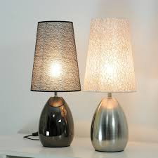 modern bedroom fabric touch switch table light bedsides metal base table lamp study room decreation table