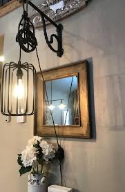 Hobby Lobby Vanity Lights Rustic Pulley Hanging Cage Light Wrought Iron Bracket W