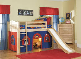 bedroom design cheerful kid bedding with kids bunk beds with slide and underbed playing space