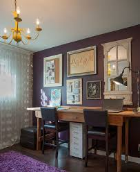 eclectic design home office. Small Eclectic Home Office For Two With Purple Walls And Chandelier. Design