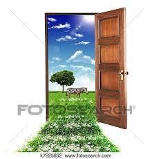 open doors clipart. Clip Art - Open Door Leading To Summer. Fotosearch Search Clipart, Illustration Posters Doors Clipart