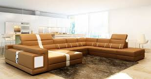 Camel leather sectional sofa with ottoman VG144 Leather Sectionals