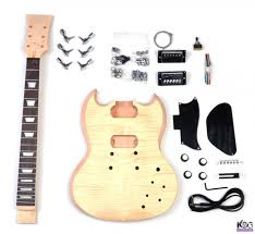 diy sg style mahogany and flamed maple build your own guitar kit kbg sg