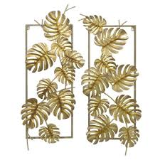 three hands gold metal tropical leaves wall decor set of 2 10118 inside newest