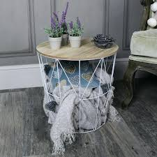 wire basket side table white metal wire basket wooden top side table wire and wood basket side table