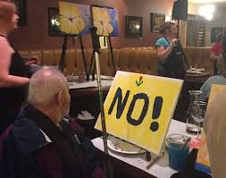 we love this one and it is probably one of our favorites on the list we are thinking that this guy s wife dragged him to the painting class and while she