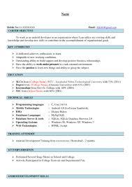 Resume Format For Mca Freshers It Resume Cover Letter Sample