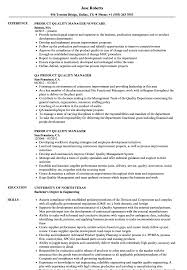 Quality Manager Resume Product Quality Manager Resume Samples Velvet Jobs 8