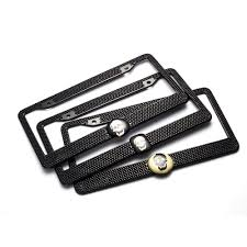 Number Plate Frame Design Us 17 35 43 Off 2pcs Set Diamond Skull License Plate Frames Stainless Steel Car Licence Plate Covers Slim Design With Bolts Washer Caps For Us In