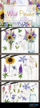 wild flowers watercolor clip art 2203176 png 72 mb real hand painted wild flowers clip arts rustic cottage chic bouquets and a jar