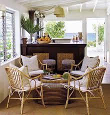 comfortable sunroom furniture. casual sunroom design with unique rattan seating white bolster and round coffee table comfortable furniture