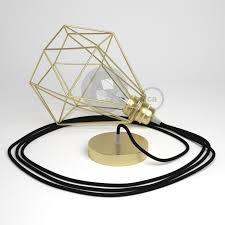 swag lamp pendant light with brass diamond light bulb cage black rm04 rayon