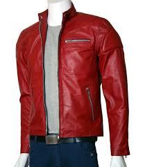 men s red leather moto jacket