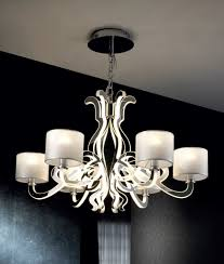 reflective 6 light chandelier with shades led