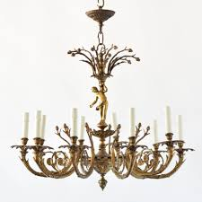 bronze cherub chandelier old vintage antique belgian french