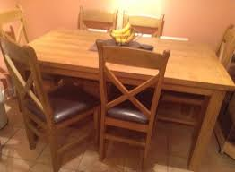 solid oak dining table and 6chairs