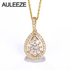 auleeze classic water drop design 0 6cttw real diamond pendant necklace 18k solid yellow gold natural diamond pendant for women