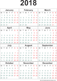 Calendar 2018 Template Months Page Printable