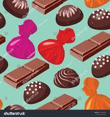 Chocolates Wrappers Seamless Pattern Chocolates Chunks Chocolate Candies Stock