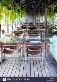 Stühlen Und Esstisch Glas Tabellen Auf Holzboden Mit Hängenden Farn