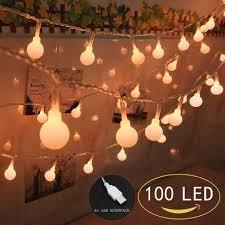 indoor string lighting. 100 LED Globe String Lights, Ball Christmas Indoor / Outdoor Decorative Light, Lighting