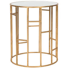 safavieh doreen gold and white glass top end table
