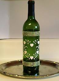 <b>Frosted</b> Green Wine Bottle With Hand Painted by WhatABeautifulGift ...