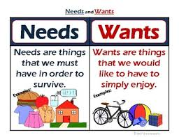 Needs And Wants Chart Needs And Wants Career Mang Lessons Tes Teach
