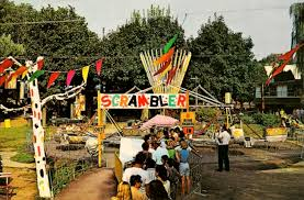 a late 1960s postcard showing the scrambler ride at dorney park