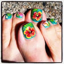 Hawaiian Flower Toe Nail Designs - Best Nail Ideas