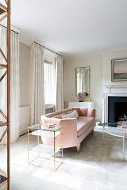 pink couches for bedrooms. Pink Velvet Curved Sofa With Brass Tiered End Tables Couches For Bedrooms E