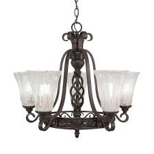 toltec lighting eleganté dark granite five light 22 inch chandelier with 5 5 inch fluted italian ice glass