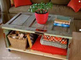 from old door to rolling coffee table