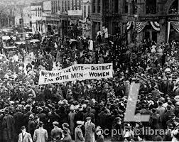 washingtoniana gallery women s suffrage movement district of   banner asks vote for both men and women in the district at suffrage parade 1913