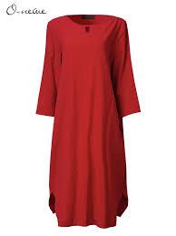 <b>L</b>-<b>5XL Women Casual</b> Pure Color O-Neck Half Sleeve Dress ...