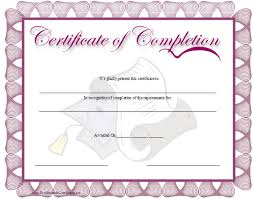 A Purple Bordered Certificate Of Completion With A Graduation Cap